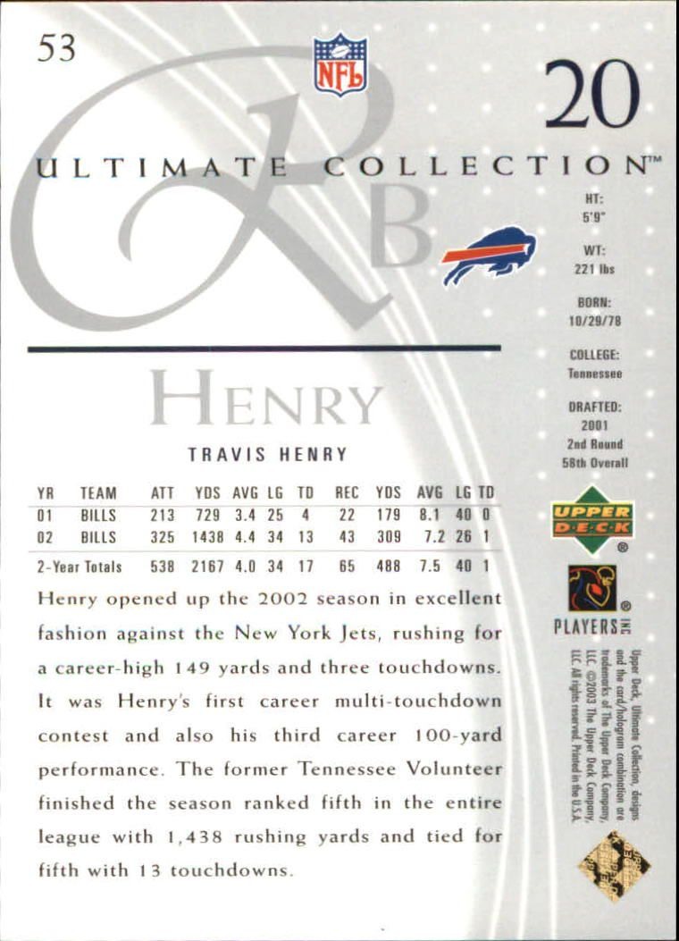 2003 Ultimate Collection #53 Travis Henry back image