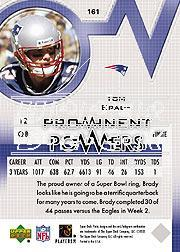 2003 Upper Deck Finite #161 Tom Brady PP back image