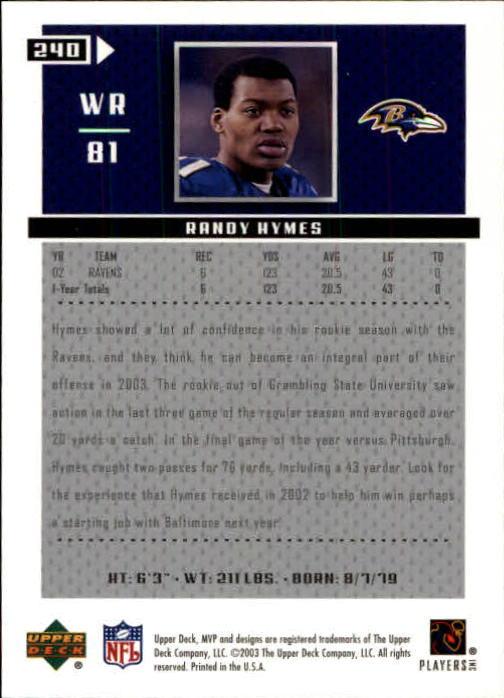 2003 Upper Deck MVP #240 Randy Hymes RC back image