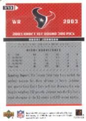 2003 Upper Deck MVP #373 Andre Johnson RC back image