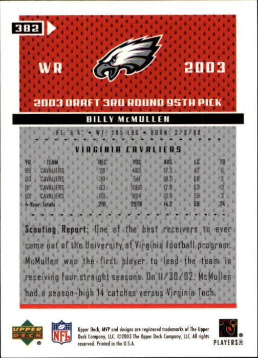 2003 Upper Deck MVP #382 Billy McMullen RC back image