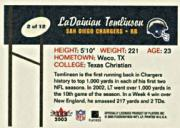 2003 Super Bowl XXXVII Chargers #2 LaDainian Tomlinson back image
