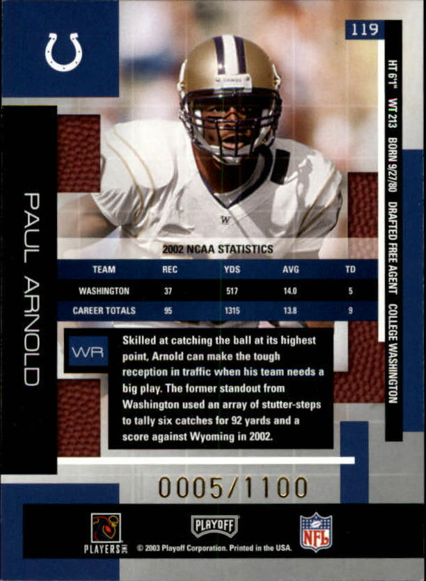 2003 Absolute Memorabilia #119 Paul Arnold RC