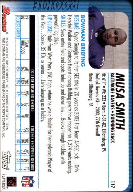 2003 Bowman #117 Musa Smith RC back image
