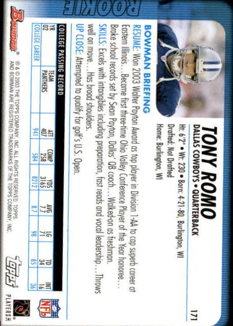 2003 Bowman #171 Tony Romo RC back image