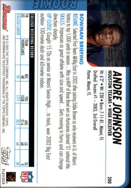 2003 Bowman #200 Andre Johnson RC back image
