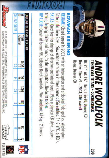 2003 Bowman #208 Andre Woolfolk RC back image