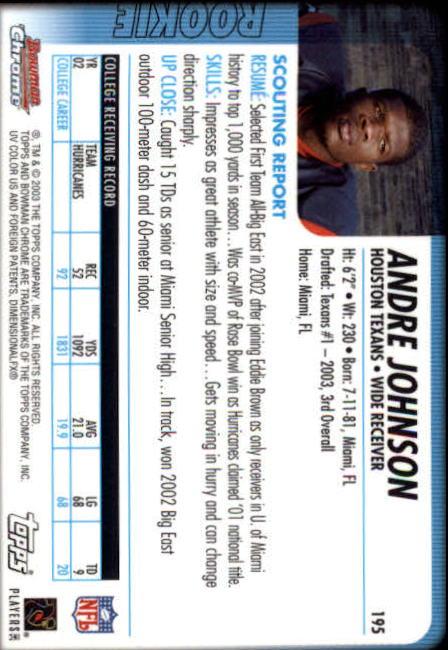 2003 Bowman Chrome #195 Andre Johnson RC back image
