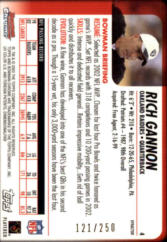 2003 Bowman Chrome Xfractors #4 Rich Gannon back image