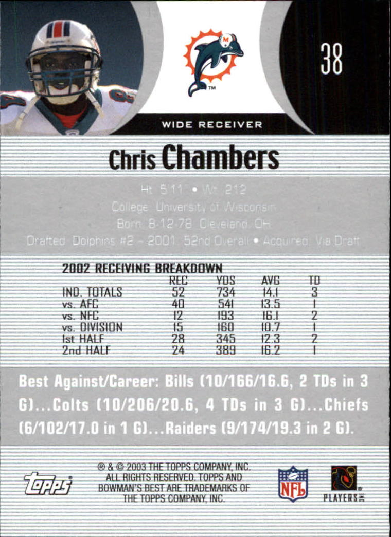 2003 Bowman's Best #38 Chris Chambers back image