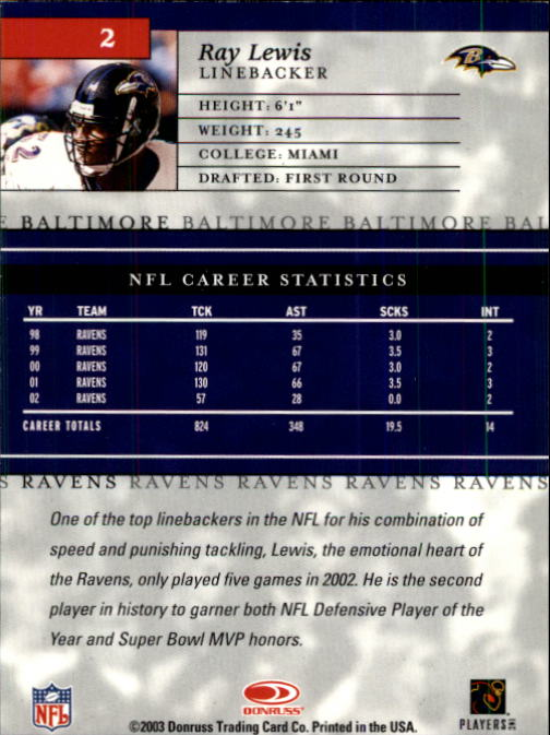 2003 Donruss Elite #2 Ray Lewis back image