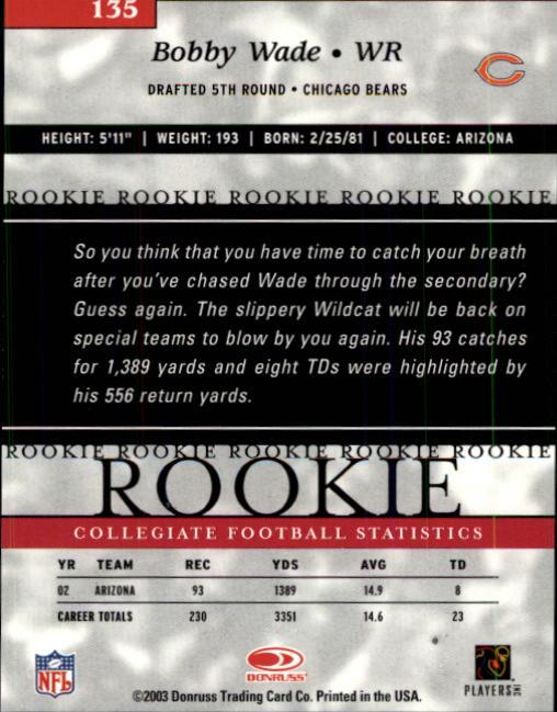 2003 Donruss Elite #135 Bobby Wade RC back image