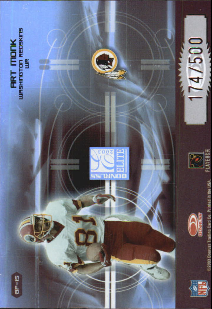 2003 Donruss Elite Back to the Future #BF15 Rod Gardner/Art Monk back image