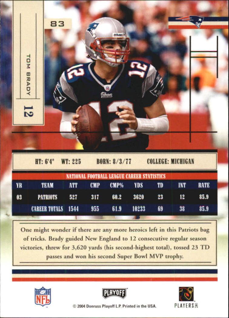 2004 Absolute Memorabilia #83 Tom Brady back image