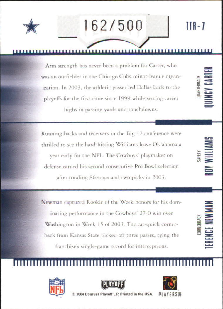 2004 Absolute Memorabilia Team Trios #TTR7 Quincy Carter/Roy Williams S/Terence Newman back image