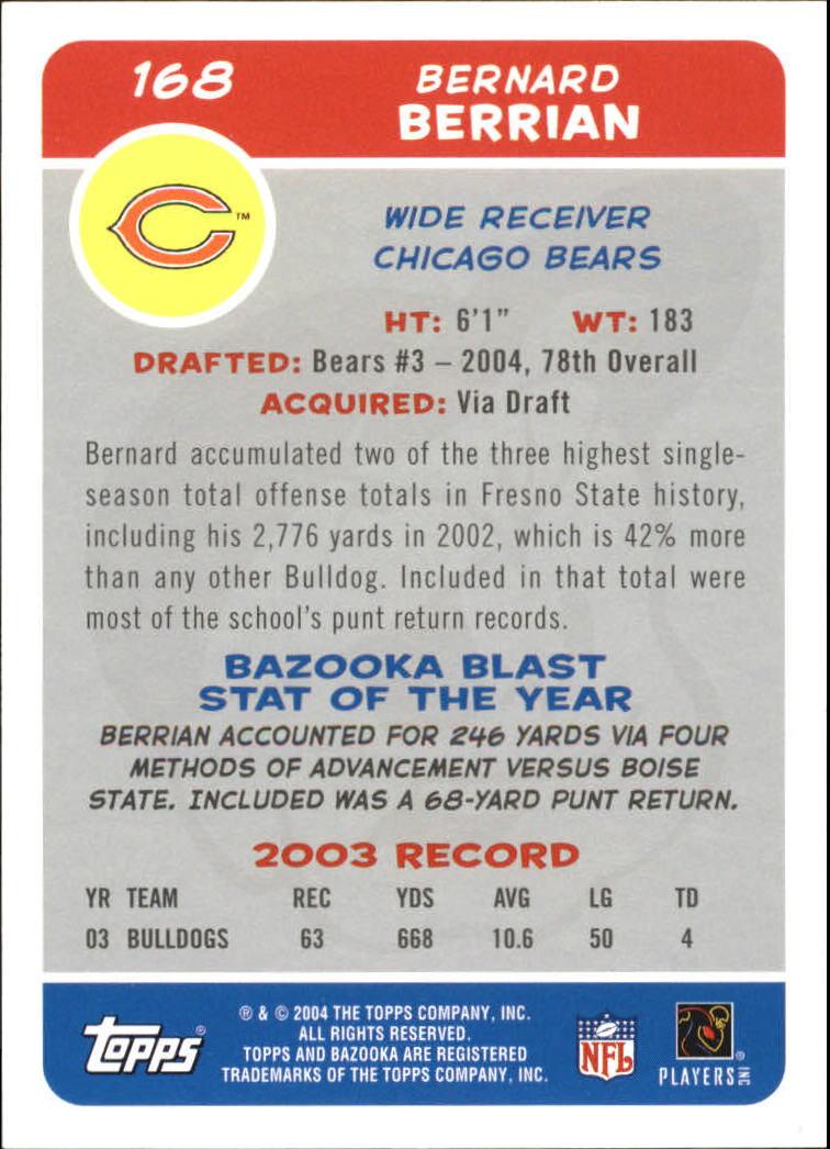 2004 Bazooka #168 Bernard Berrian RC back image