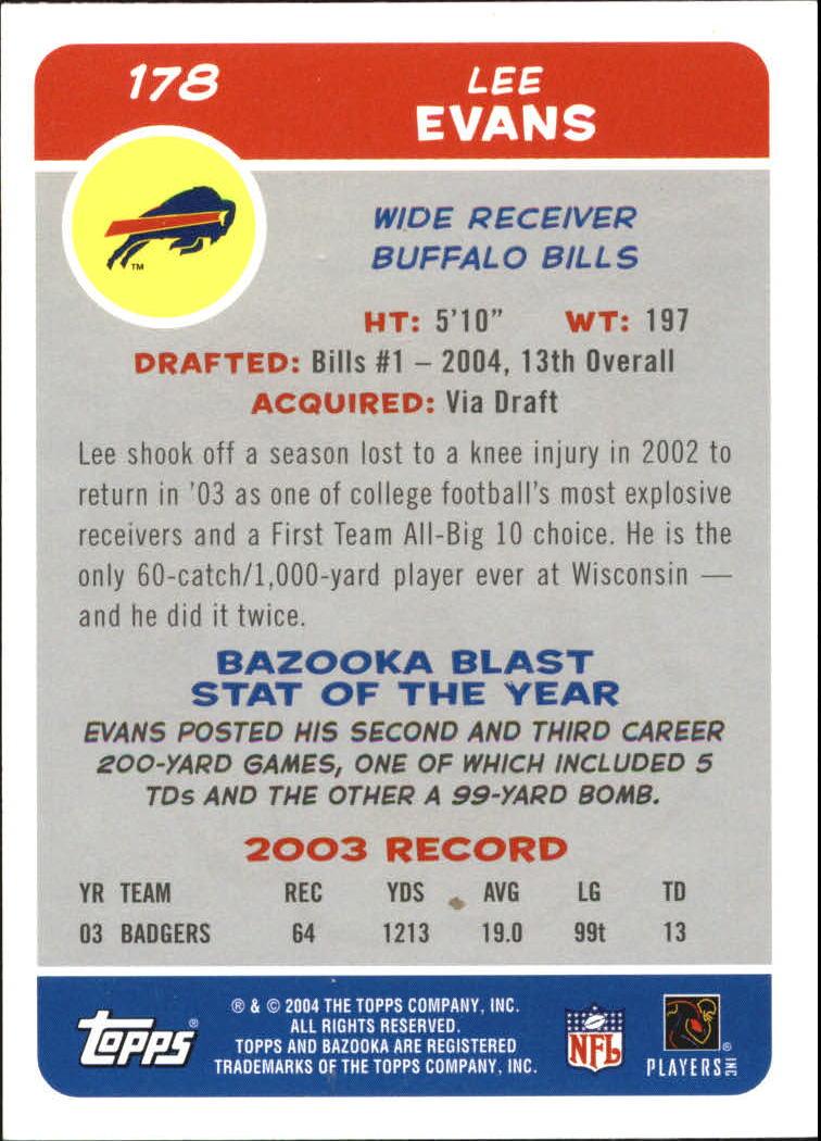 2004 Bazooka #178 Lee Evans RC back image
