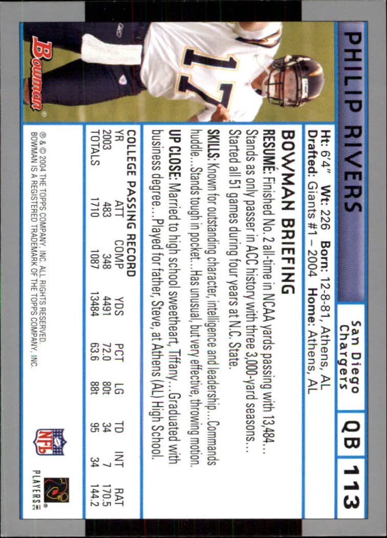 2004 Bowman #113 Philip Rivers RC back image