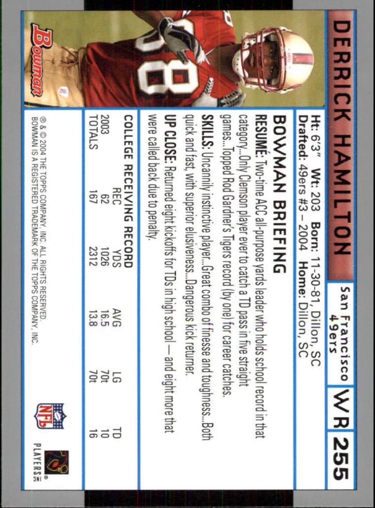 2004 Bowman #255 Derrick Hamilton RC back image