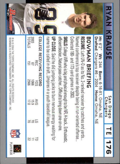 2004 Bowman First Edition #176 Ryan Krause back image