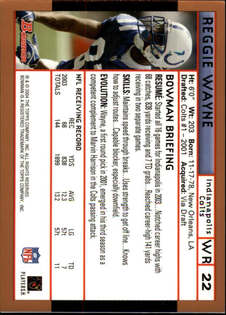 2004 Bowman Gold #22 Reggie Wayne back image