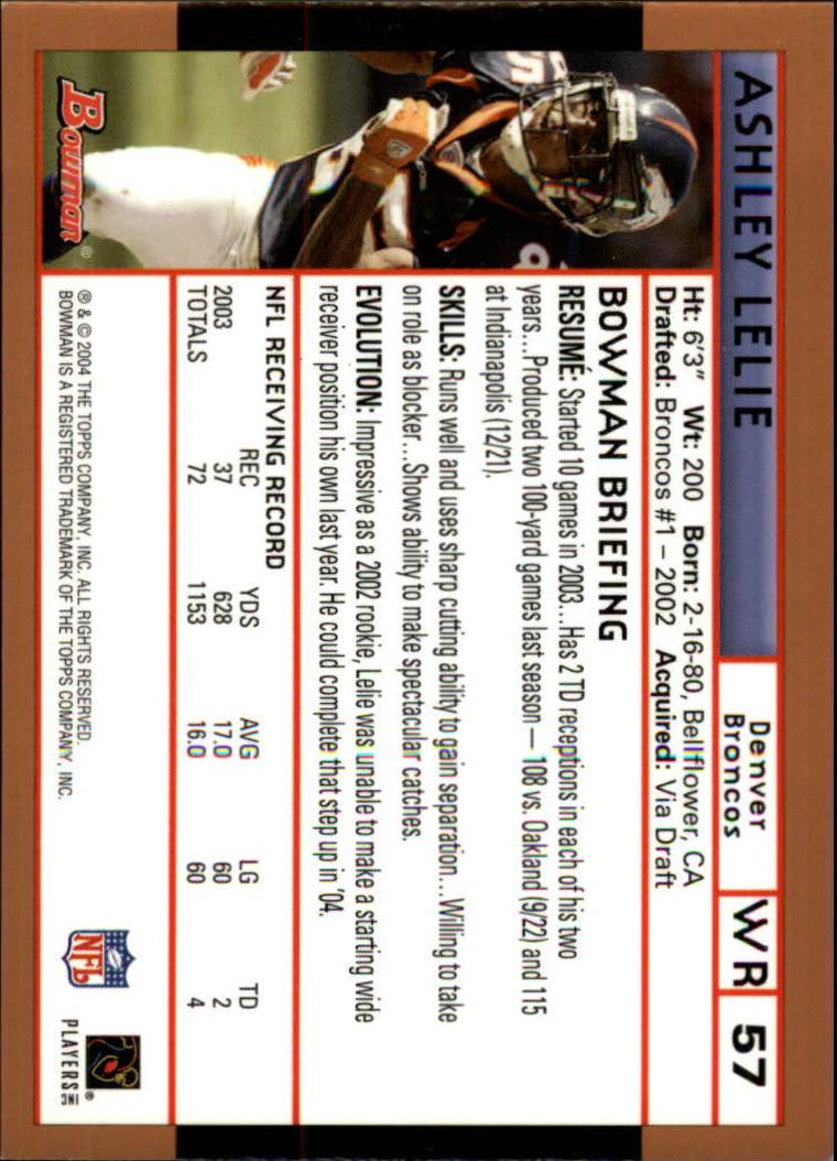 2004 Bowman Gold #57 Ashley Lelie back image