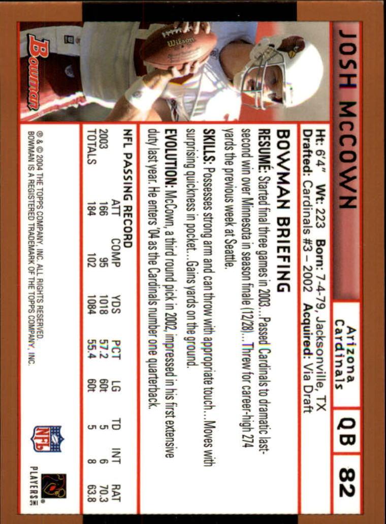 2004 Bowman Gold #82 Josh McCown back image