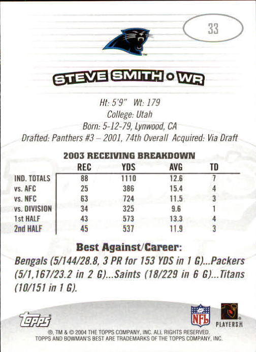 2004 Bowman's Best #33 Steve Smith back image