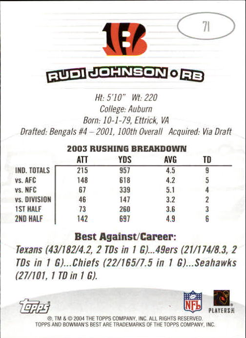2004 Bowman's Best #71 Rudi Johnson back image