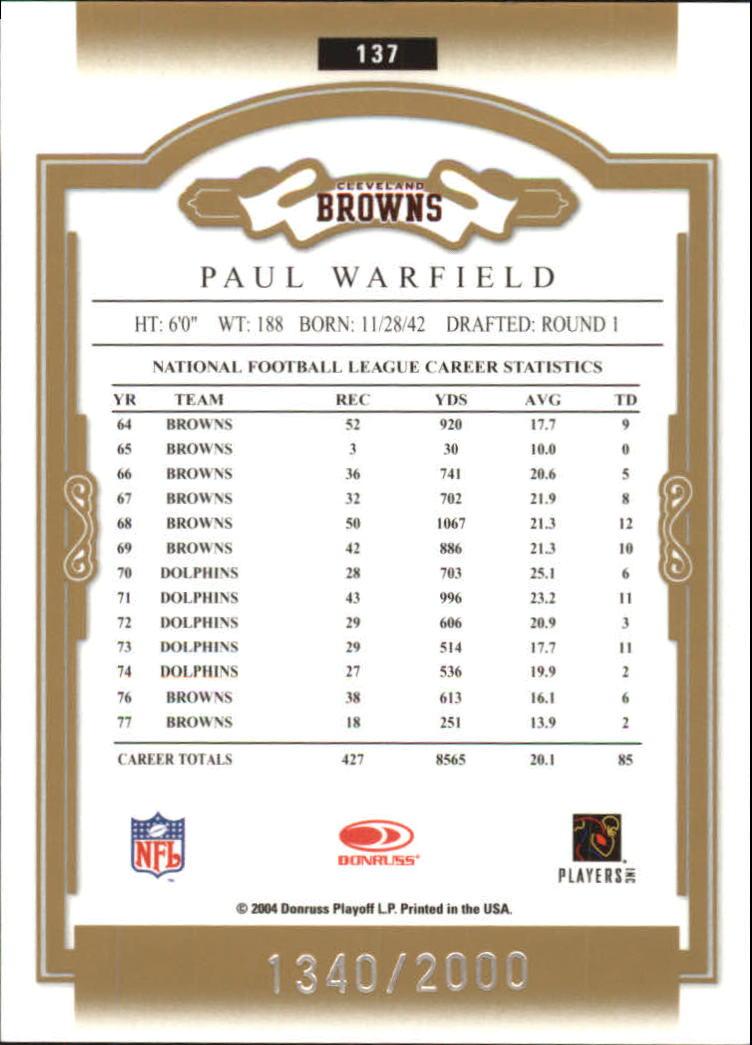 2004 Donruss Classics #137 Paul Warfield back image