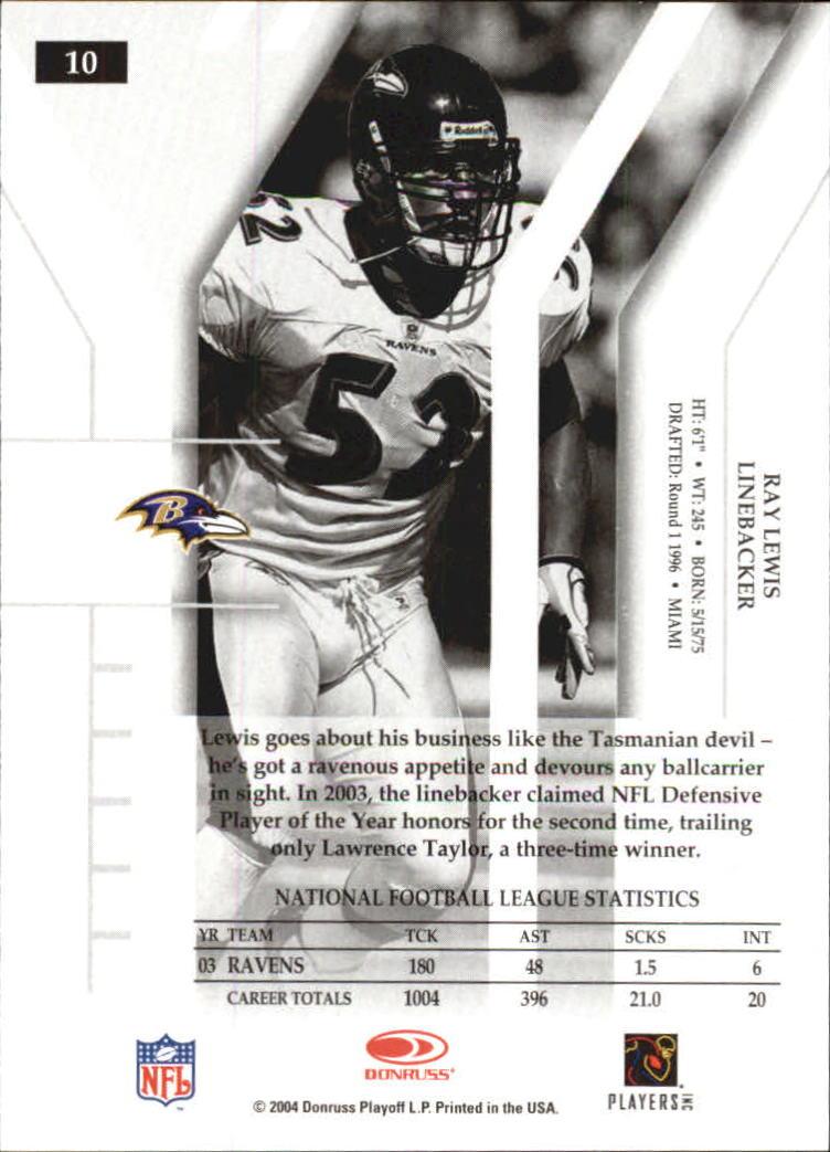 2004 Donruss Elite #10 Ray Lewis back image