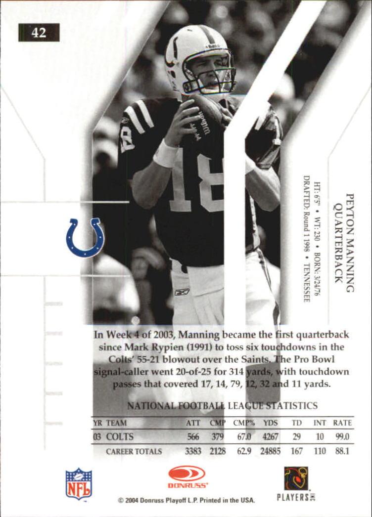 2004 Donruss Elite #42 Peyton Manning back image