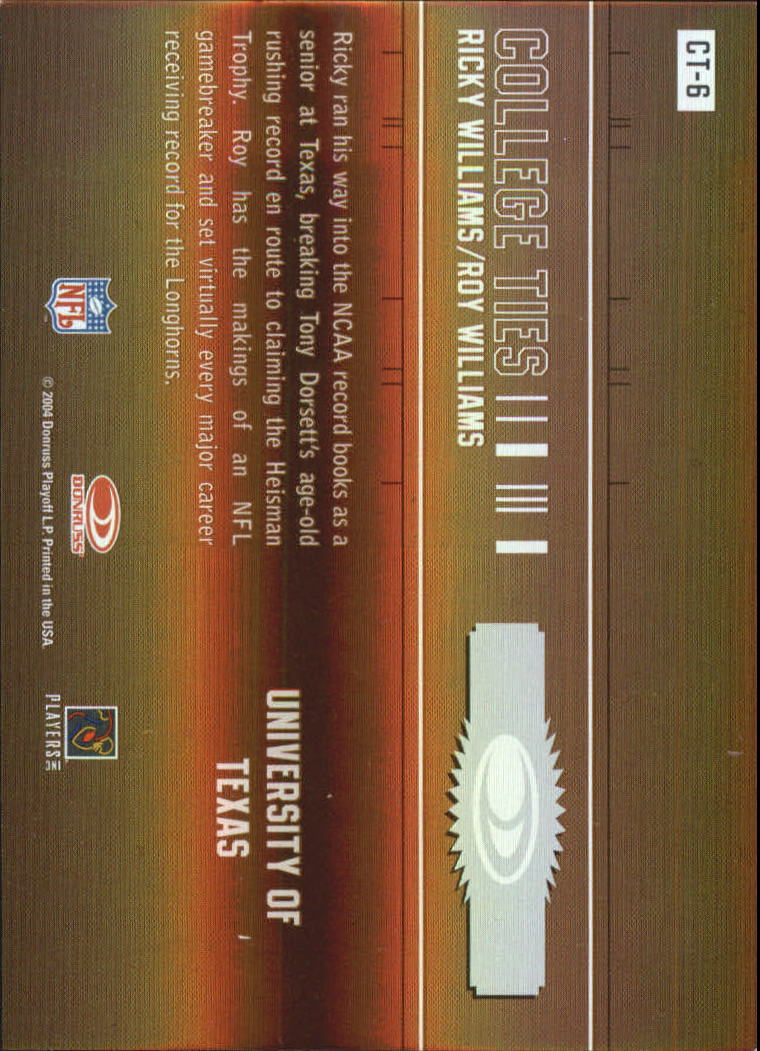 2004 Donruss Elite College Ties #CT6 Ricky Williams/Roy Williams WR back image