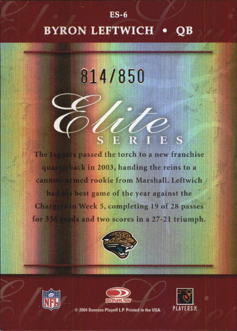 2004 Donruss Elite Series #ES6 Byron Leftwich back image