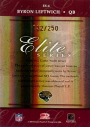 2004 Donruss Elite Series Jerseys Bronze #ES6 Byron Leftwich back image