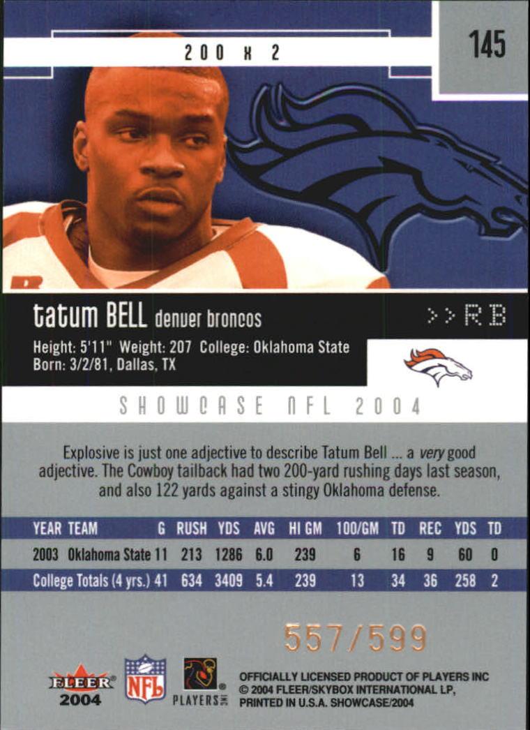 2004 Fleer Showcase #145 Tatum Bell RC back image