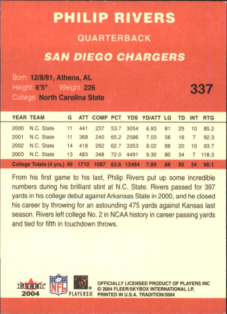 2004 Fleer Tradition #337 Philip Rivers RC back image