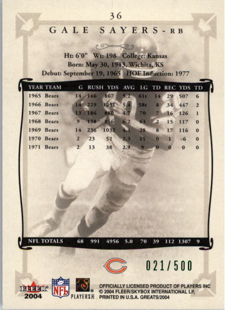 2004 Greats of the Game Green/Red #36 Gale Sayers back image