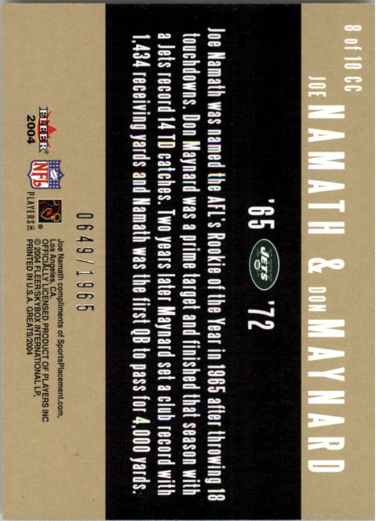 2004 Greats of the Game Classic Combos #8CC Joe Namath/1965/Don Maynard back image