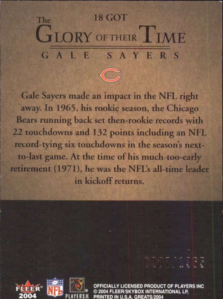 2004 Greats of the Game Glory of Their Time #GOT18 Gale Sayers/1965 back image