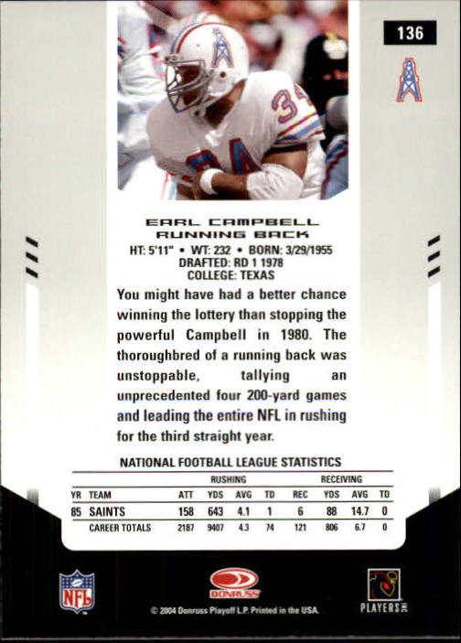 2004 Leaf Certified Materials #136 Earl Campbell FLB back image