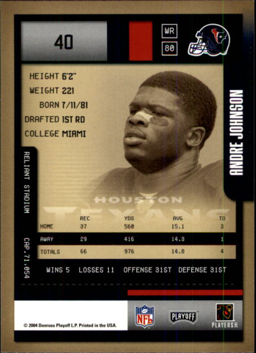 2004 Playoff Contenders #40 Andre Johnson back image