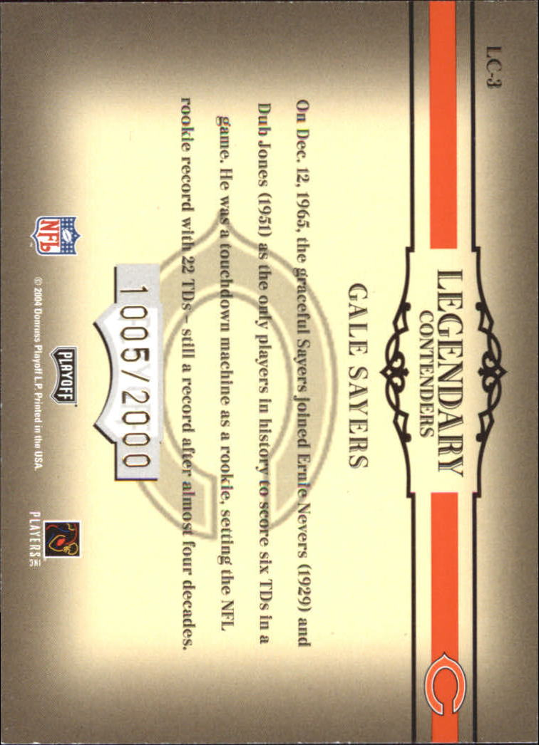 2004 Playoff Contenders Legendary Contenders Orange #LC3 Gale Sayers back image