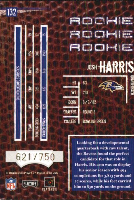 2004 Playoff Hogg Heaven #132 Josh Harris RC back image