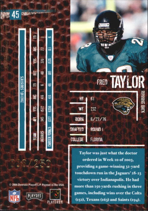 2004 Playoff Hogg Heaven Hogg Wild #45 Fred Taylor back image