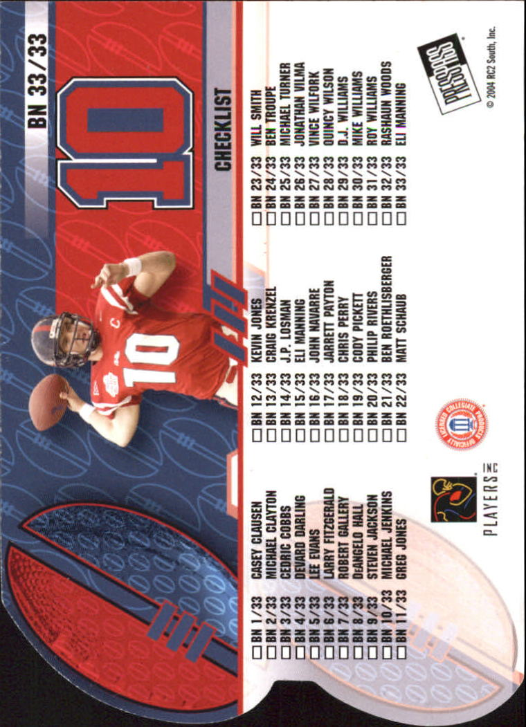 2004 Press Pass Big Numbers #BN33 Eli Manning CL back image