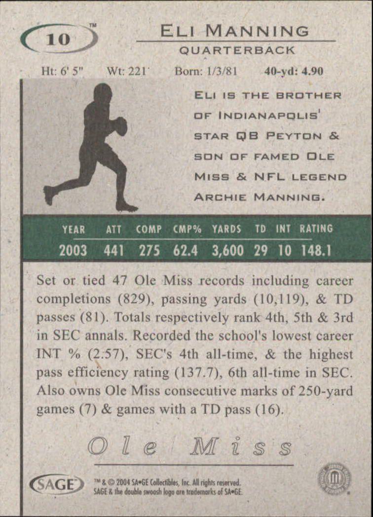 2004 SAGE HIT #10 Eli Manning back image