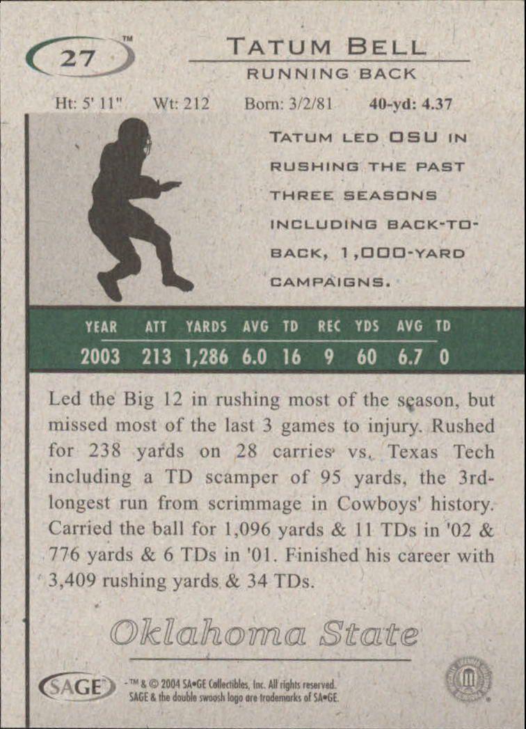 2004 SAGE HIT #27 Tatum Bell back image