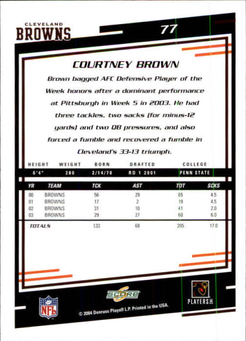 2004 Score #77 Courtney Brown back image
