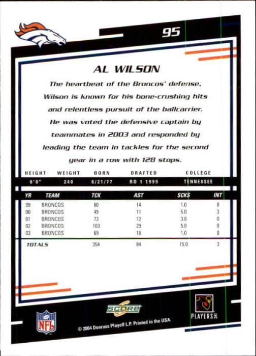 2004 Score #95 Al Wilson back image